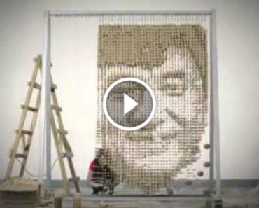 Retrato De Jackie Chan Feito Só Com Pauzinhos Chineses!!! 6