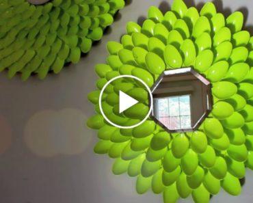 Saiba Como Fazer Este Lindo Espelho Decorativo Usando… Colheres De Plástico 1