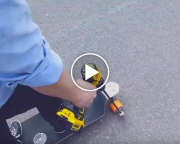 Homem Cria o Seu Próprio Skate Motorizado Com o Uso De Um Berbequim 2