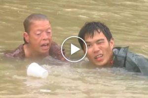 Momento Angustiante Em Que Homem Salva Mulher e Cão De Carro Submerso Em Inundação 10