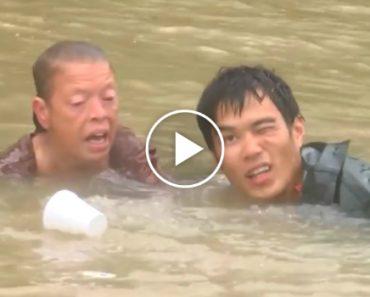 Momento Angustiante Em Que Homem Salva Mulher e Cão De Carro Submerso Em Inundação 4