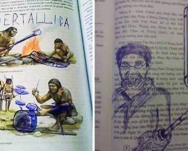 20 Obras De Arte Desenhadas Em Livros Por Estudantes Entediados 5