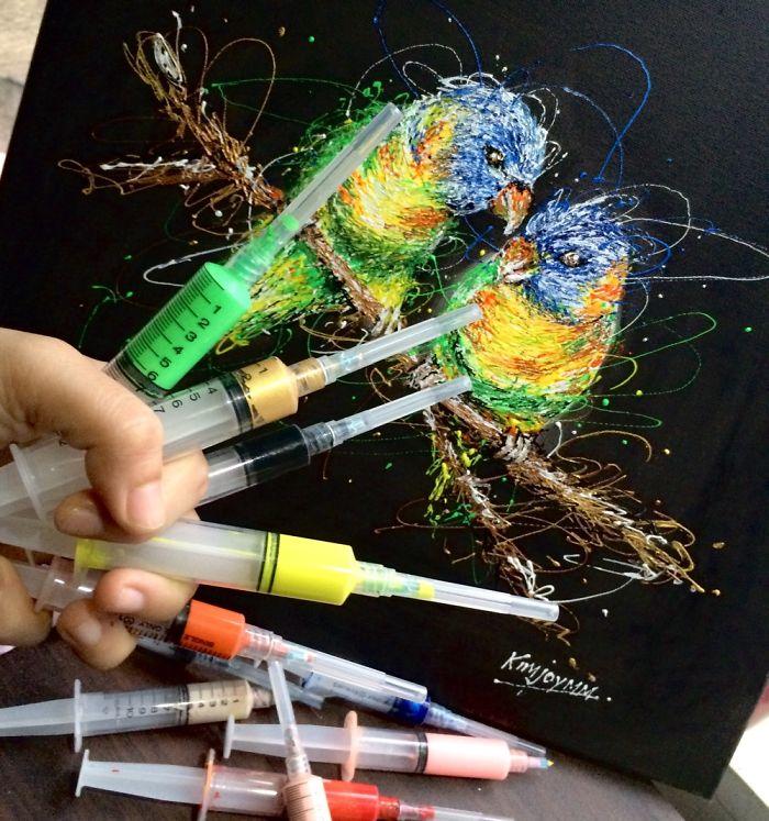 Injeção De Arte: Enfermeira Faz Pinturas Incríveis Usando Seringas 2