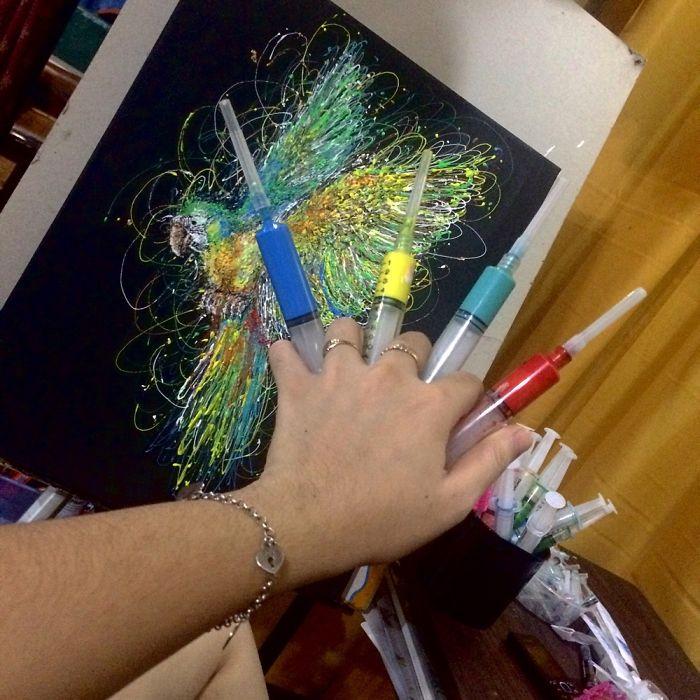 Injeção De Arte: Enfermeira Faz Pinturas Incríveis Usando Seringas 4