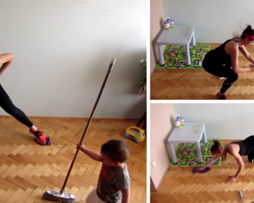 Mãe Mostra Como Limpa a Casa Enquanto Faz Exercícios Fitness 7