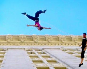 Bailarinos Dançam Valsa Na Parede De Um Edifício De 18 Andares 2