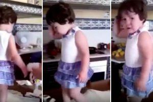 Menina Tem Reação Hilariante Quando Percebe Que Está a Ser Filmada Durante Uma Birra 10