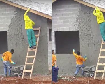 Trabalhador Com Incrível Precisão Cimenta Fachada De Casa Sem Precisar De Escada 9