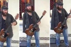 """Guitarrista De Rua Só Com Um Braço Deslumbra Ao Ritmo De """"Voodoo Child"""" 9"""