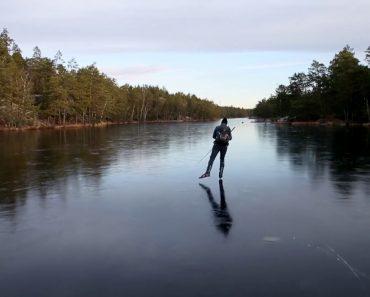 Lago Congelado Ecoa Sons De Outro Mundo Ao Ser Patinado 5