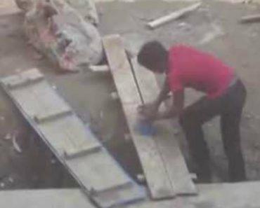 Jovens Brincam Com Trabalhador Duma Obra Que Nunca Viu Um Ponteiro Laser 2