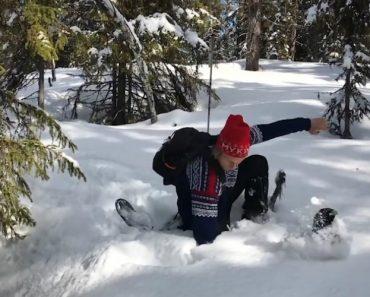 Esquiador Tem Surpresa Esvoaçante Depois De Pisar Buraco 7