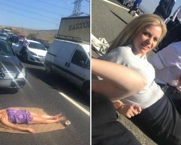 Mulher Decidiu Apanhar Banhos De Sol Após Ficar Retida No Trânsito Durante Horas 6