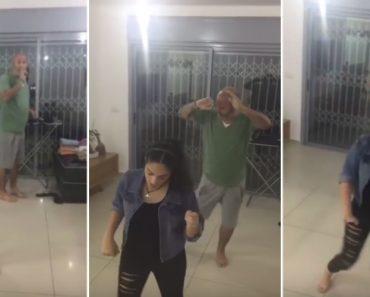 Pai Cria Momento Divertido Ao Dançar Secretamente Atrás Da Sua Filha Durante Gravação De Vídeo 8
