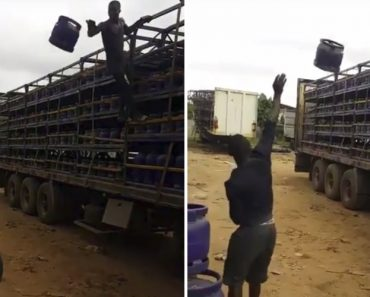 Trabalhadores Mostram Como Se Carrega Camião Com Bilhas De Gás Com Incrível Rapidez 5