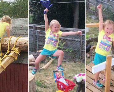 Pai Cria Espetacular Prova De Obstáculos Ao Estilo American Ninja Warrior Para Filha De 5 Anos 3