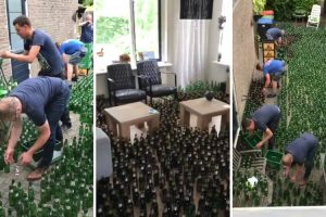 Amigos Colocam 8832 Garrafas De Cerveja Vazias Na Casa Dos Noivos Como Prenda De Casamento 10