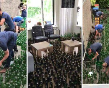 Amigos Colocam 8832 Garrafas De Cerveja Vazias Na Casa Dos Noivos Como Prenda De Casamento 9