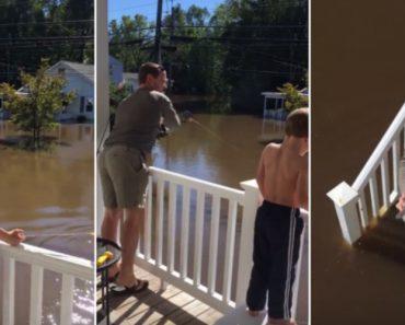Família Aproveita As Inundações à Porta De Casa Para Pescar o Almoço 7