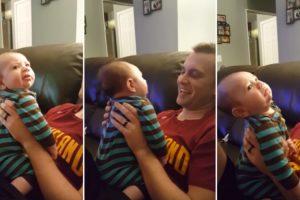 Bebé De 2 Meses Faz Hilariantes Caretas Sempre Que o Pai Lhe Dá Um Beijo 10