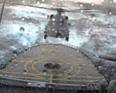 Vídeo Incrível Mostra Perícia De Piloto Ao Aterrar Em Porta-Helicópteros Com Difíceis Condições Climatéricas 3