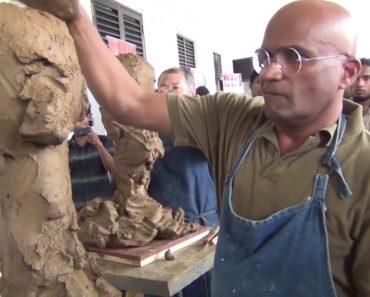 Veja Como Estes Dois Professores De Artes Esculpem o Rosto Um Do Outro Em Tempo Real 8