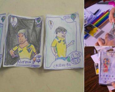 Menino Sem Dinheiro Desenhou Os Próprios Cromos e Fez Uma Caderneta Do Mundial 12