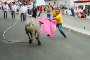 Homem Leva Criança Ao Colo Para Enfrentar Touro Nos Açores 9