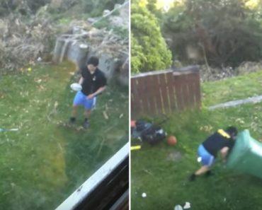 Jovem Decide Praticar Rugby Usando Um Caixote Do Lixo Como Adversário 8