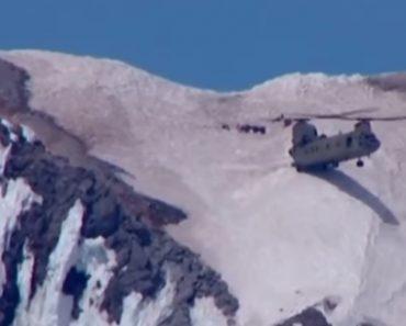 Piloto De Helicóptero Chinook Faz Arriscada Manobra Em Operação De Resgate Numa Montanha 5