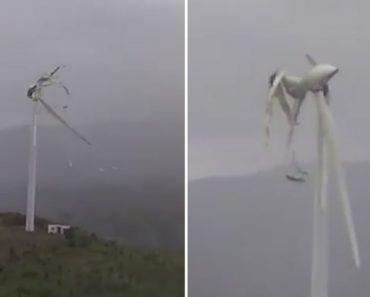 Hélices De Turbina Eólica Desfazem-se Como Cartão Ao Ser Atingida Por Fortes Ventos 1