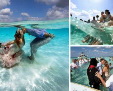 Noivos Casam-se Num Banco De Areia, Em Pleno Mar Das Caraíbas, Em Cerimónia Maravilhosa 6