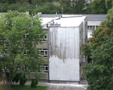 """Pintores """"Profissionias"""" Utilizam Método Único Para Pintar Edifício De Uma Escola 3"""