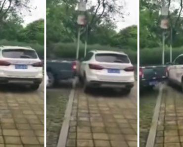 Condutor De Pick-Up Usa Próprio Veículo Para Empurrar SUV Mal Estacionado Que Impedia a Sua Passagem 7
