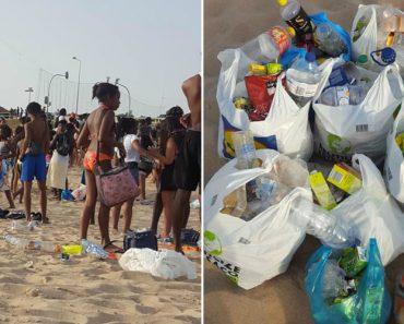 """Jovem Passou Horas a Limpar Praia De Carcavelos e Relembrou: """"A Praia Não é Um Aterro"""" 4"""