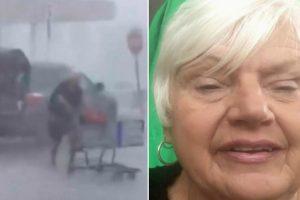 Idosa Enfrenta Dura Tempestade Para Colocar Carrinho De Compras No Devido Lugar 9