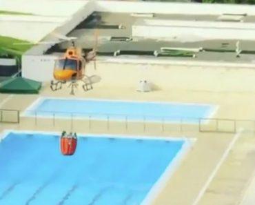 Momento Em Que Meios Aéreos Que Combatem Incêndio Em Monchique Abastecem Em Piscina 7