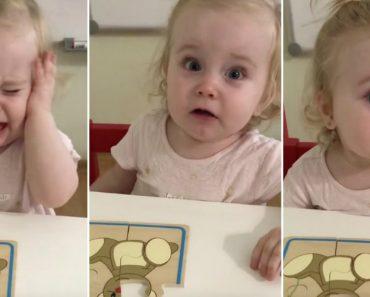 Menina Irritada Por Não Conseguir Acabar Puzzle Resolve o Problema De Forma Eficaz 1