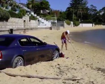 Homem Leva Maserati Para a Praia e Acaba Enterrado Na Areia 7