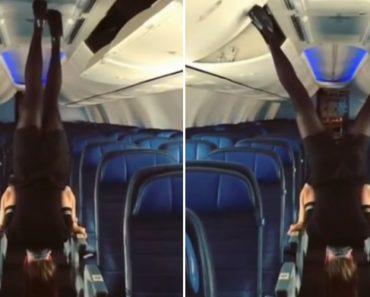 Hospedeira De Bordo Com Extrema Flexibilidade, Fecha Compartimentos De Avião De Cabeça Para Baixo 3