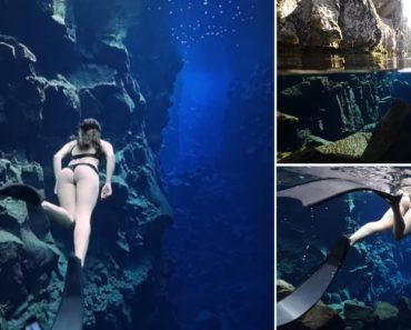 Mergulho Hipnotizante Nas Águas Gélidas e Cristalinas Do Parque Nacional Thingvellir Na Islândia 6