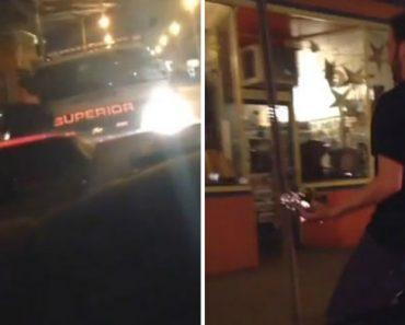 Homem Embriagado Cai Em Cima De Carro De Polícia Após Perder Equilíbrio 5