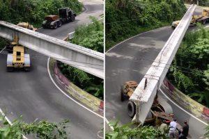 Como Se Transporta Uma Sólida Viga De Ponte Quando Se Tem De Passar Por Uma Estrada Montanhosa 10