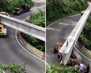Como Se Transporta Uma Sólida Viga De Ponte Quando Se Tem De Passar Por Uma Estrada Montanhosa 1