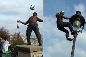 Impressionante Artista De Rua Desafia As Leis Da Gravidade Usando Uma Bola De Futebol 8