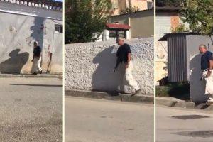O Esforço Deste Pedestre Em Caminhar Sobre a Estreita Calçada Não Compensou 10