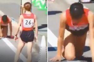 Impressionante: Atleta De 19 Anos Cai, Fratura a Perna e Termina a Prova... De Joelhos 8