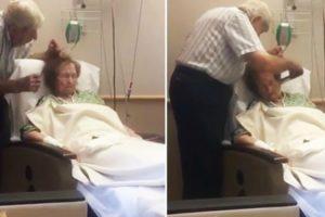 Vídeo Enternecedor Mostra Idoso a Pentear Delicadamente o Cabelo Da Mulher Doente 4