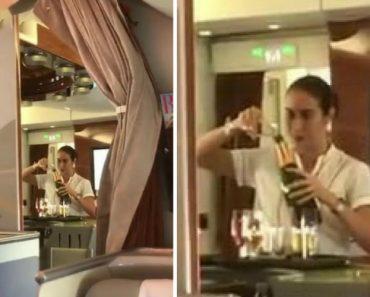 Passageiro Filma Hospedeira Da Emirates a Pôr Sobras De Champanhe De Novo Na Garrafa 8