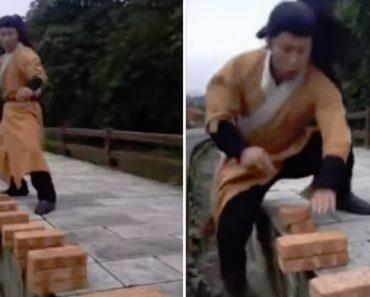 Mestre De Kung Fu Bate o Seu Próprio Recorde Ao Partir 100 Tijolos Em 37 Segundos Com as Mãos 5